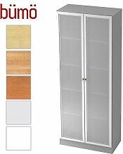 Bümö Office Aktenschrank aus Holz inkl. 4 Einlegeböden mit Rauchglas Türen | Büroschrank – Büro Schrankwand System (Aktenschrank m. Milchglaß | 5 Ordnerhöhen, Grau)