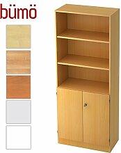 Bümö® Office Aktenschrank-Regal Schrank abschließbar aus Holz | Kombination Flügeltür-/Regalschrank inkl. Einlegeböden | Büroschrank – Büro Schrankwand System (Aktenregal-& Schrank-Kombi, Buche/Buche)