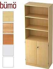 Bümö® Office Aktenschrank-Regal Schrank abschließbar aus Holz   Kombination Flügeltür-/Regalschrank inkl. Einlegeböden   Büroschrank – Büro Schrankwand System (Aktenregal-& Schrank-Kombi, Ahorn/Ahorn)