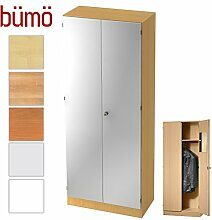 Bümö® Office Garderobenschrank abschließbar aus Holz   Kleiderschrank   Flurschrank   Büroschrank – Büro Schrankwand System (Garderobenschrank, Buche/Silber)