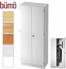 Bümö® Office Garderobenschrank abschließbar aus Holz | Kleiderschrank | Flurschrank | Büroschrank – Büro Schrankwand System (Garderobenschrank, Weiß)