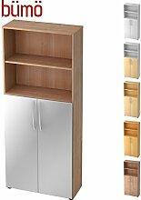 Bümö® Regalschrank mit Türen | Aktenschrank aus Holz | Büroschrank für Aktenordner | Aktenregal für Ordner | in 12 Farben verfügbar (Nussbaum/Silber)