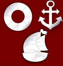 BÜNDEL VON 3 Geätzte Marine Themed Spiegels für Badezimmer DEKORATION DECO * Sommerschlussverkauf *
