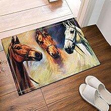 BuEnn Tierbadeteppiche weiß und braun Pferdekopf