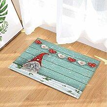 BuEnn Weihnachtsdekor rotes Herz auf Türkis Holz