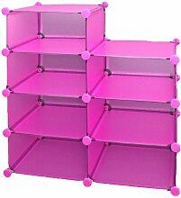 Büro Flur Kinder Regal Schrank Steckregal CD Regal Bücherregal in Pink Rosa Transparen