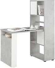 Büro Schreibtisch mit Regal Weiß und Hellgrau