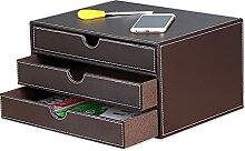 Bürobedarf-Set aus Leder mit 3 Schubladen,