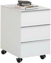 Bürocontainer in Weiß Hochglanz drei Schubladen