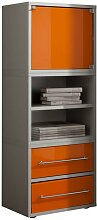 Bürokommode in Grau Orange Glas hoch