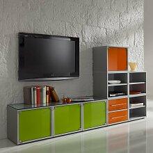 Büromöbel Kombination in Grün Orange Glas modern (3-teilig)