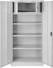Büroschrank C001D Geheimfach Aktenschrank Metallschrank Universalschrank Flügeltürschrank Stahlschrank Lagerschrank Ideal für Büro Verschließbar (grau/grau)