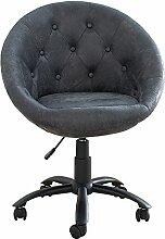 Bürosessel COUTURE antik grau mit Rollen höhenverstellbar Drehstuhl Sessel Büro Stuhl Arbeitszimmer