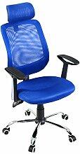 Bürostuhl Bürodrehstuhl Schreibtischstuhl Chefsessel Netz Stuhl Arbeitshocker Drehstuhl ergonomisch Chefstuhl Blau