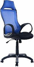Bürostuhl Bürodrehstuhl Schreibtischstuhl Chefsessel Netz Stuhl Arbeitshocker Bürodrehstuhl Drehstuhl ergonomisch Chefstuhl (Blau)