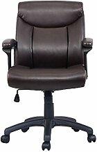 Bürostuhl Chefsessel Bürodrehstuhl Schreibtischstuhl PU Stuhl Arbeitshocker Drehstuhl ergonomisch Chefstuhl Braun