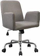 Bürostuhl / Drehstuhl Rudolf - Küchenstuhl - 360° drehbar - Arbeitsstuhl - Konferenzstuhl - Retro Look - Barstuhl - Esszimmerstuhl - Polsterstuhl - Stoffsessel (Hellgrau)