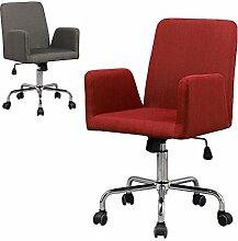 Bürostuhl / Drehstuhl Rudolf - Küchenstuhl - 360° drehbar - Arbeitsstuhl - Konferenzstuhl - Retro Look - Barstuhl - Esszimmerstuhl - Polsterstuhl - Stoffsessel (Rot)