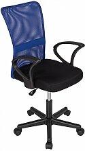 Bürostuhl Drehstuhl Schreibtischstuhl Büro Dreh Stuhl mit Armlehnen Blau-Schwarz