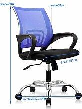 Bürostuhl Schreibtischstuhl, ergonomischer Drehstuhl mit Netzrücken, Wippfunktion feste Armlehne höhenverstellbar, Schwaz Chefsessel mit Mesh Netz in Blau, JLB011-BS