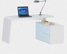 Bürotisch in Weiß Glas modern