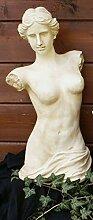 Büste antik Frau Torso Skulptur Gartendeko cremé H: 53 cm wetterfes