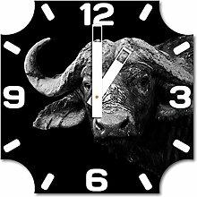 Buffalo, Design Wanduhr aus Alu Dibond zum Aufhängen, 30 cm Durchmesser, breite Zeiger, schöne und moderne Wand Dekoration, mit qualitativem Quartz Uhrwerk