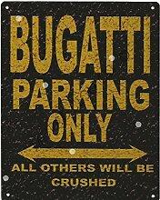 Bugatti Metall Parking Rustikaler Stil den großen 30,5x 40,6cm 30x 40cm Auto Schuppen Dose Garage Werkstatt Art Wand Spiele Raum