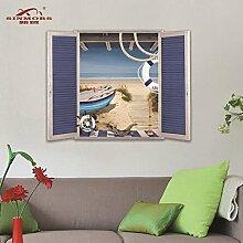Buggy 3D-Küste Strand von Schiff planare Wand Aufkleber PVC-Material 50 x 70 cm entfernen