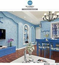 Buggy TV Hintergrund Wand moderner Minimalismus mottenfest antibakterielle nahtlose Schallabsorption Vlies Tuch antistatische Antifouling feuchtigkeitsbeständig Tapete Grid Vlies Tapete 10 m * 0.53 m,Blue