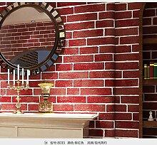 Buggy TV Hintergrund Wand moderner Minimalismus mottenfest antibakterielle nahtlose Schallabsorption Vlies Tuch antistatische Antifouling feuchtigkeitsbeständig Tapete Stereo-Brick-Vlies Tapete 10 m * 0.53 m,Red
