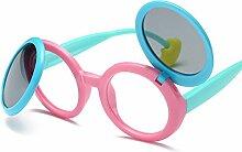 BUKUANG Clamshell Kind UV Polarisierte Sonnenbrille Weibliche Sonnenbrille Abgerundet Sonnenschutz,A