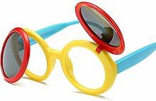 BUKUANG Clamshell Kind UV Polarisierte Sonnenbrille Weibliche Sonnenbrille Abgerundet Sonnenschutz,C