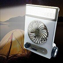 Bulary Solarbetriebene Ventilator Schreibtischlampe Taschenlampe 4 In 1 Solar Wiederaufladbare 10 LM 1 Watt LED Portable für Camping Wandern
