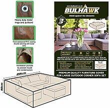 bulhawk® Garten Große Ecke Sofa-Set Möbel | Höchste Qualität | Superior Schutz | Heavy Duty Premium Qualität | 100% wasserdicht | braun oder grau