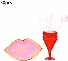 bulingLU Red Lip Party Supplies Einweggeschirr-Set