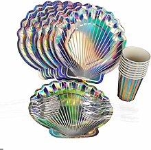 bulingLU Shell Party Supplies Einweggeschirr-Set