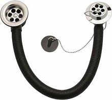 Bulk Hardware BH01262 40 mm Kombinierter Badewannenabfluss und -überlauf mit Stöpsel und Kette, Weiß