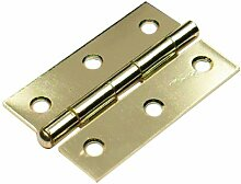 Bulk Hardware BH01776 75 mm Scharnier mit losem Stift - Galvanisch vermessingt (Packung à 2)
