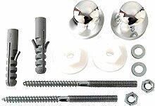 Bulk Hardware BH01958 Sanitär-Montagesatz M8 x 120 mm, Verchromt / Weiß