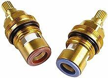Bulk Hardware BH03122 Keramische Heiß- und Kaltwasserhahnscheibe, Paar 3/8, 1/2 Zoll, Weiß