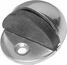 Bulk Hardware BH03933 50 mm ovaler Türstopper, Aluminium glänzend / Weiß