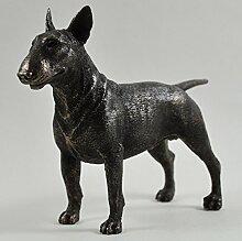 Bull Terrier Hund klein kalt gegossen Bronze Statue Skulptur Pets Geschenkidee 14cm