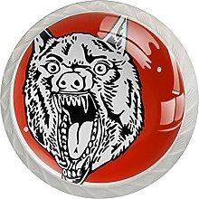 Bulldogge1 4 Stück Schranktürgriffe, Rundgriffe,