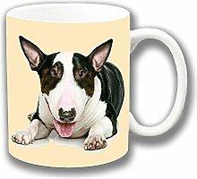 Bullterrier Braun Braun Gescheckt Weiß Fotodruck Keramik Tee-/ Kaffeetasse Einzigartige Geschenkidee
