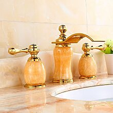 Buluke Dreiteilige europäisch anmutenden Kupfer gold jade Waschbecken Wasserhahn