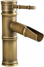 Buluke Europäischen Stil Antik Kupfer Bambus Waschbecken Wasserhahn