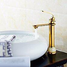 Buluke Europäischen Stil Kupfer jade Einlochmontage warmes und kaltes gold Waschbecken Wasserhahn