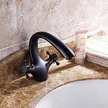 Buluke Europäischen Stil schwarz Bronze Einlochmontage Doppelgriff Waschbecken Wasserhahn