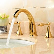 Buluke Europäischen zwei behandeln drei Löcher heißes und kaltes Wasser Kupfer Waschbecken Wasserhahn,Gold